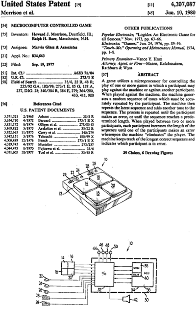 "United States ""Microcomputer Controlled Game"" patent, number 4,207,087"