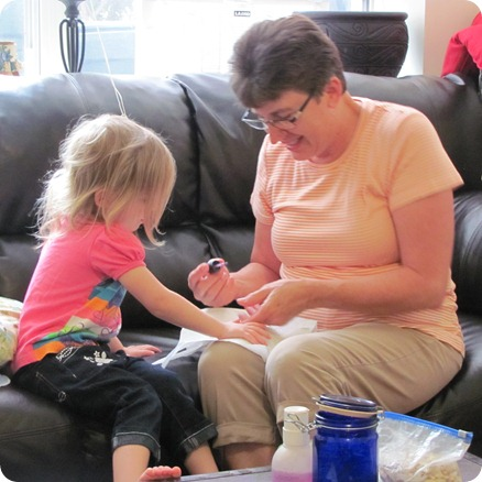 Grandma painting Elaine's nails