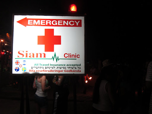 Emergency clinics, like this one, are set up all over the beach.