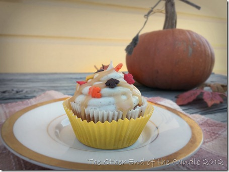 Pumpkin Spice Cupcake with Cinnamon Cream Cheese Frosting & Caramel