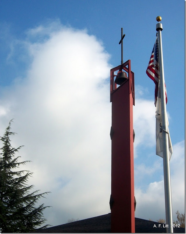 Cross and Flag - Two.  Gresham, Oregon.  December 12, 2011.  Photo of the Day by A. F. Litt: September 11, 2012.