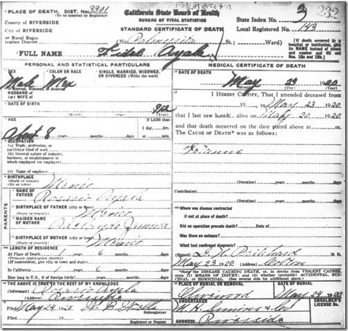 Riverside County, California, unfiled collection of certificates with unknown birthdates, death certificate no. 232, Fidel Ayala, 23 May 1920, Clerk's Office, Riverside.