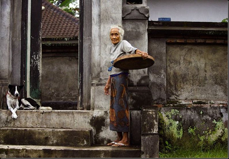 Balinese Elder With Dog