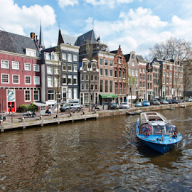 Amsterdam by Merina Tjen - Lim - City,  Street & Park  Historic Districts ( amsterdam; canal; boat; tourism; skyline )