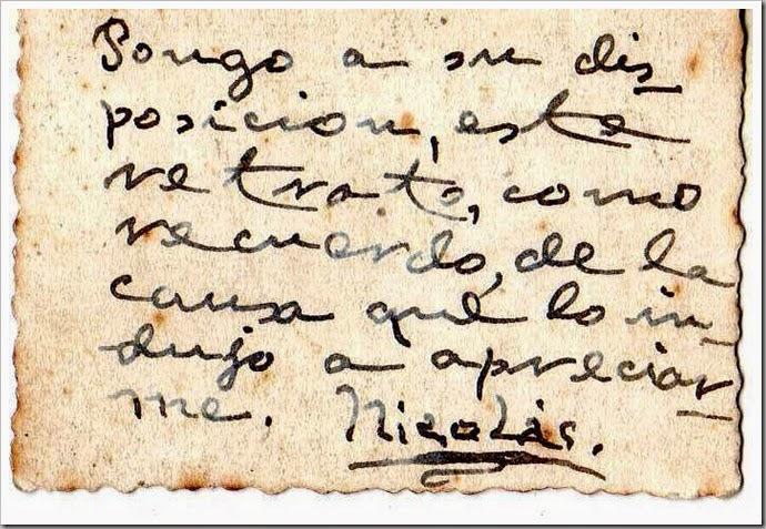 Reverso de la foto del Poeta Nicolás.-Valencia.