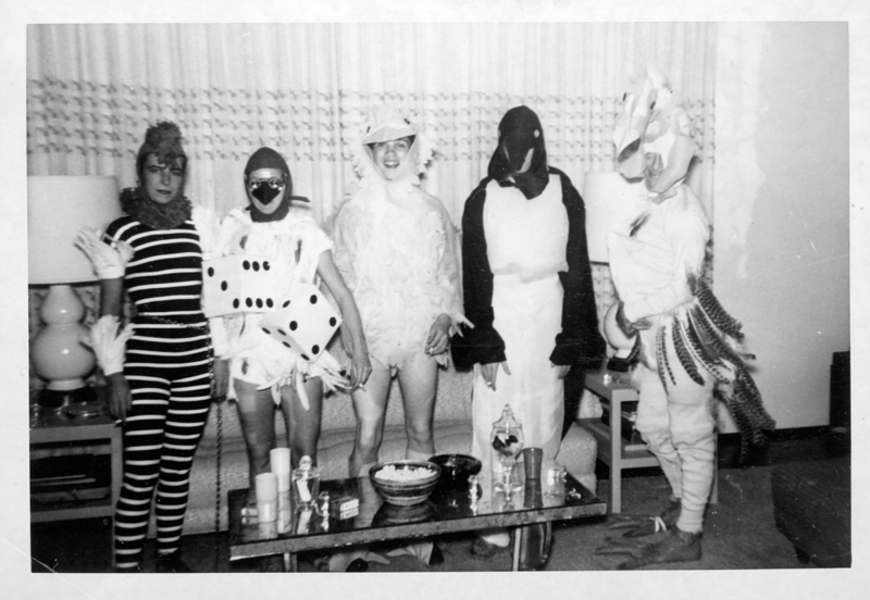 "Five men and women dressed as birds at a Henry Wooton Grace ""Japanese"" party thrown at his home. Grace was a Hollywood set designer and art director from 1935-1970. Circa 1951-1958."