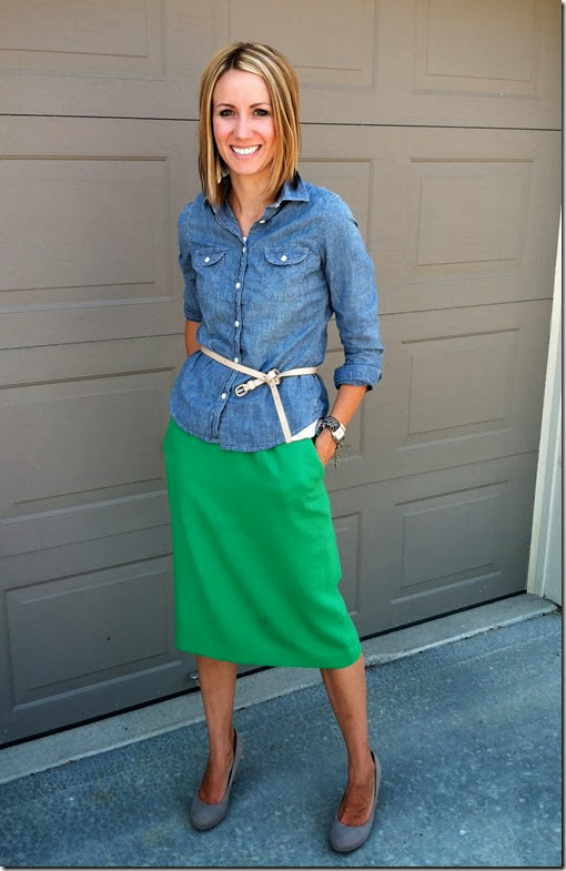 Chambray + Colored Pencil Skirt + Belt + Nude Heels