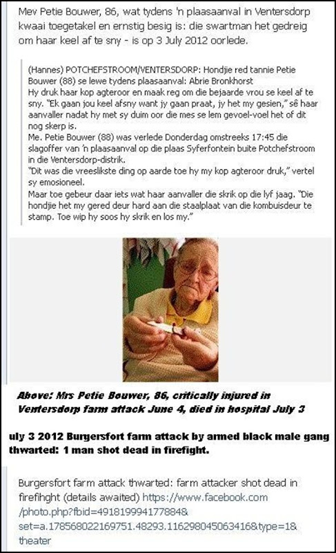 Bouwer Mrs Petie 96 critically injured in farm attack on June 4 2012 Ventersdorp DIES JULY 3 2012