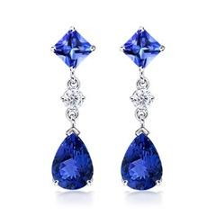 Pear, Square Tanzanite and Diamond Dangle Earrings