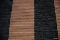 Welurowa tkanina obiciowa w pasy. Brązowa, czarna.