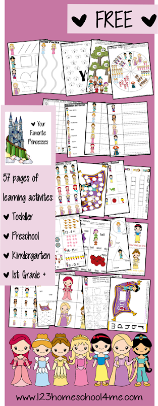 worksheets for kids - Disney Princess for preK-1st grade #disney #preschool #kindergarten