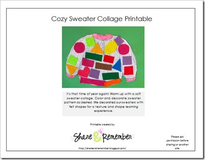 cozy sweater collage printable