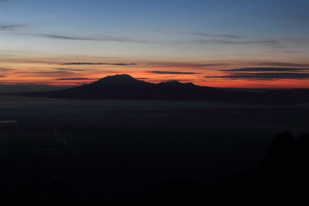 Sunrise over Gunung Lawu in Central Java, Indonesia