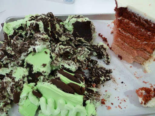 I didn't have any real behind-the-scenes photos of the minty ice-box cake. We shot it and then promptly devoured it.
