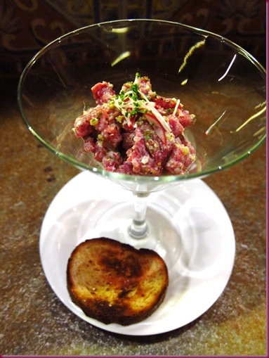 Steak Tartare on Whole Grain Mustard Sorbet