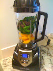 The makings of the Peach, Berry, and Spinach Smoothie.