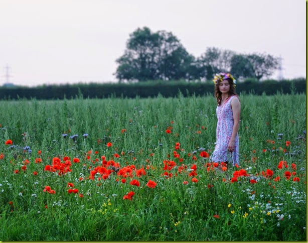 girl wearing floral crown in field
