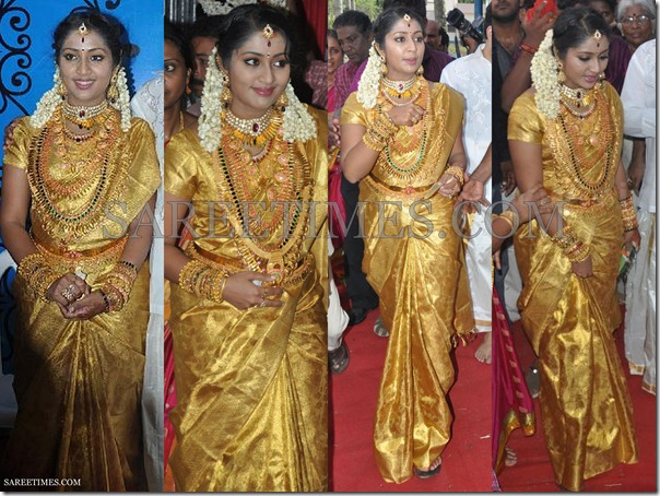 Navya_Nair_Gold_Wedding_Saree