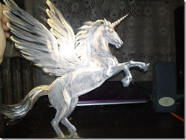 Pegasus - Acrylic on glass painting work in progress - Pegas pictura pe sticla in lucru