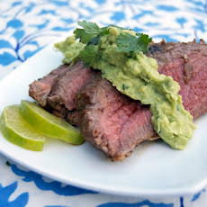 Tequila Marinated Tri-Tip w/ Avocado Cream Sauce