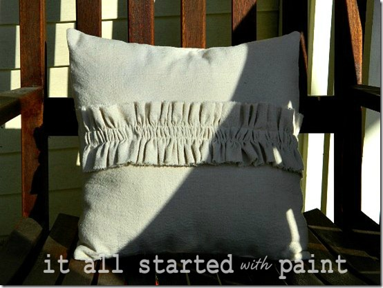 Ruffle Pillow on Porch