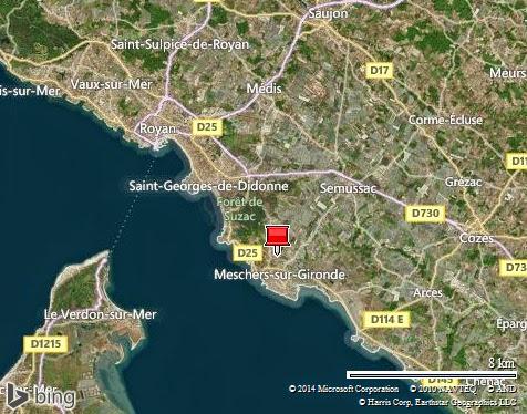 Royan à Meschers-sur-Gironde dans estuaire de la Gironde