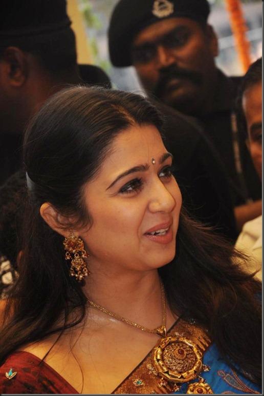 Actress Charmi Cute Saree Photos at SVR Brothers Vijayawada