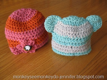 flower and bear crochet hats