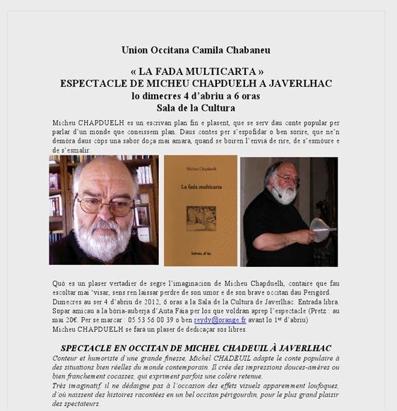 promocion d'espectacle en Peirigòrd Michèu Chapduèlh