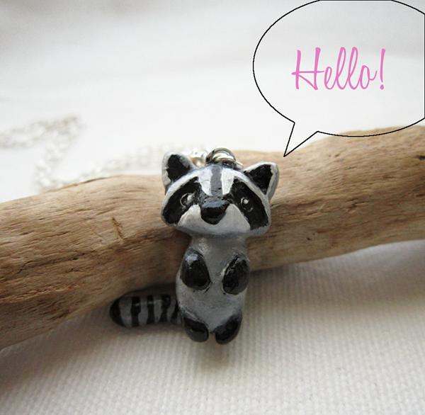 raccoon necklace2 hello