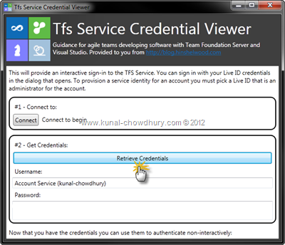 Collect the Account Service Credentials
