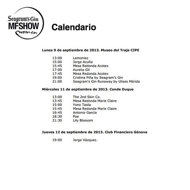 calendario MFShow