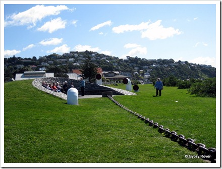 "Wahine Memorial park, Seatoun near Steeple Rock where the ""Wahine""sank. The anchor chain directs you to the site of the sinking."