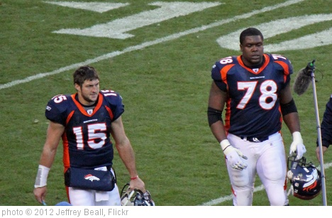 'Tebow and Clady coming off the field' photo (c) 2012, Jeffrey Beall - license: http://creativecommons.org/licenses/by-sa/2.0/
