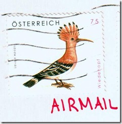 hoopoe bird on austrian stamp