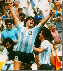 Maradona celebrating with his team