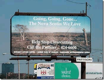 Clearcutting Nova Scotia billboard