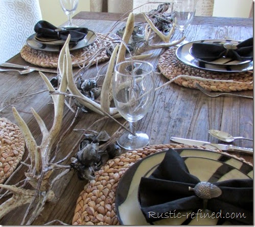 Unusual Tablescapes with antlers and animal print
