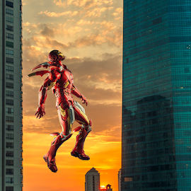Sunset by Ganjar Rahayu - Digital Art Places ( mark vii, building, toy, fly, sunset, ironman, digital, manipulation )