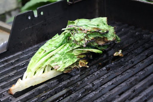 Grilling the lettuce for salad.