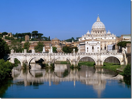 The Vatican Seen Past the Tiber River, Rome, Italy