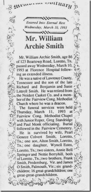 Smith William Archie Obit