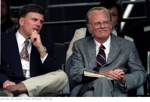 'Billy Graham Franklin Graham Cleveland Stadium Ohio June 11,1994' photo (c) 1994, Paul Walsh - license: http://creativecommons.org/licenses/by/2.0/