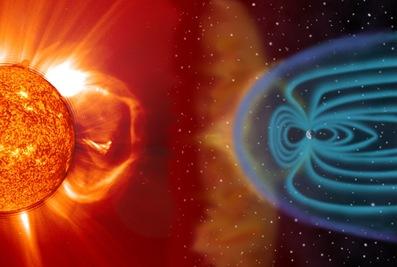 campo magnético da Terra bombardeado pelo vento solar