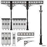 System kolumnad aluminiowych w stylu gotyckim wg projektów XIX-wiecznych. Dla całego systemu oferujemy projekt, konstrukcję oraz montaż.