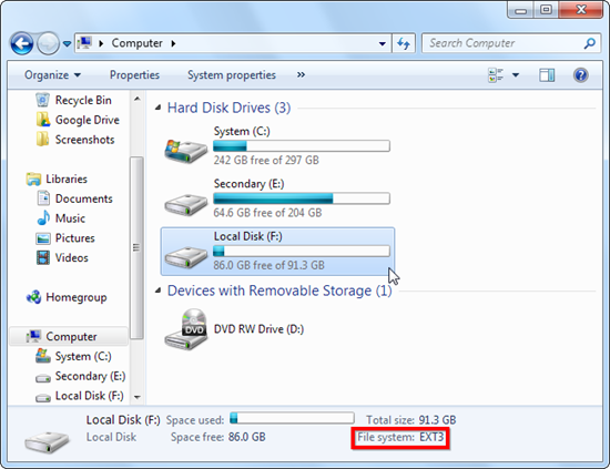 ext2fsd Linux Drive