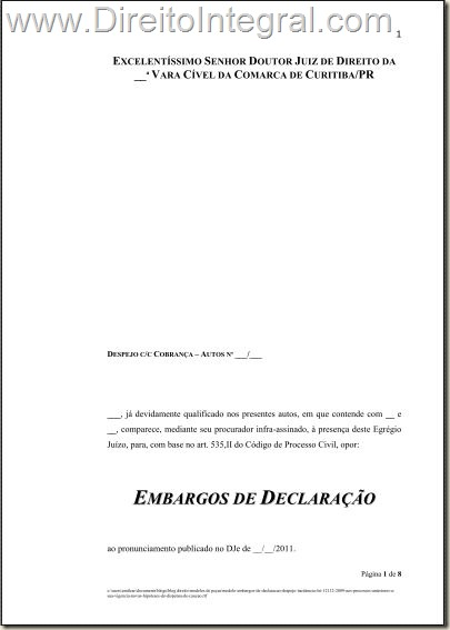 Modelo de Petição de Embargos de Declaração com efeito modificativo.