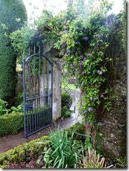 stobshiel garden gate with clematis
