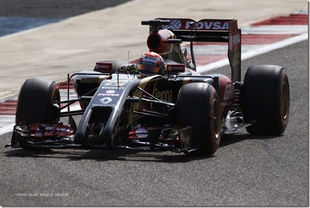 2014 F1 Pre Season Test 3 - Day 1 Bahrain International Circuit, Sakhir, Bahrain. Thursday 27 February 2014. Pastor Maldonado, Lotus E22 Renault. World Copyright: Glenn Dunbar/LAT Photographic. ref: Digital Image _89P5946.JPG