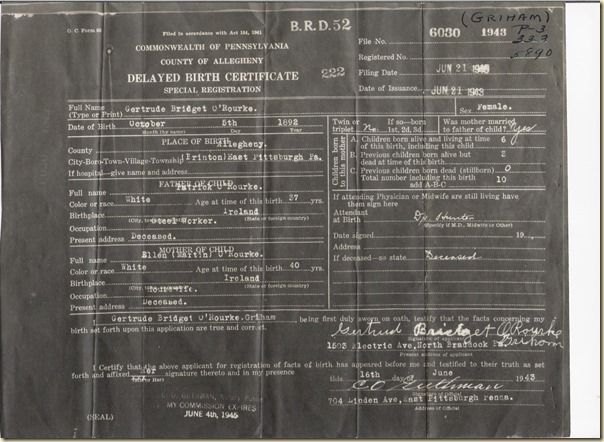 Gertrude B O'Rourke delayed birth cert 1943